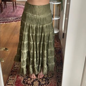 Long green ruffled free people skirt